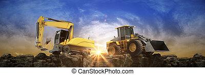 fazendo, construção, sunset., 3d, veículo
