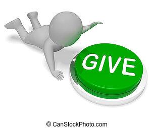 fazendo, dar, botão, dar, indica, contribuição, 3d