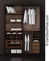 fazendo, dentro, modernos, armário, 3d