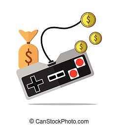 fazendo dinheiro, ilustração, jogo