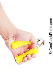fazendo, exercite equipamento, com, aperto mão