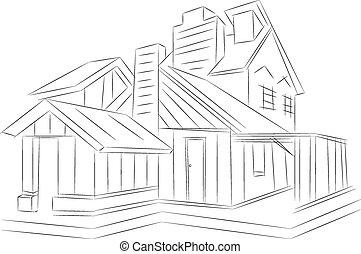 fazendo, house., wire-frame, experiência., branca, 3d
