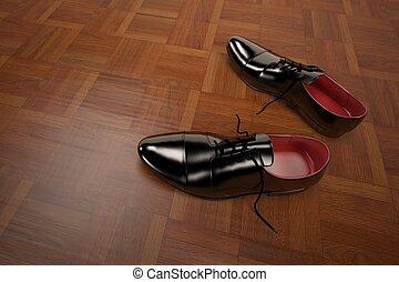 fazendo, modelo, 3d, sapatos, formal