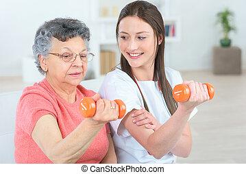 fazendo, pequeno, exercícios