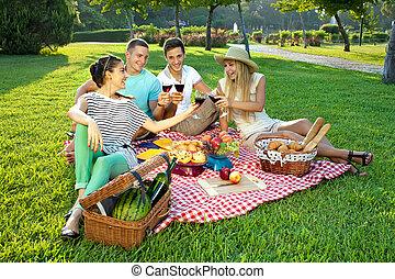 fazendo piquenique, amigos, parque, jovem