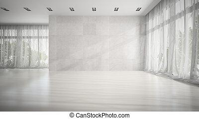 fazendo, quarto branco, vazio, 3d