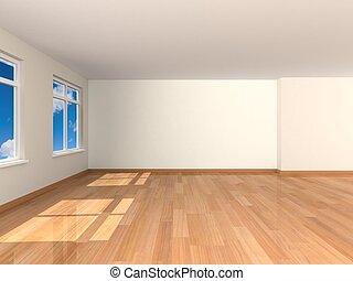 fazendo, sala, vazio, 3d