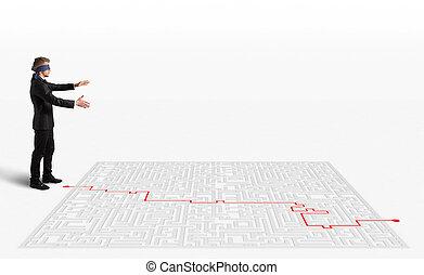 fazendo, solução, labirinto, 3d