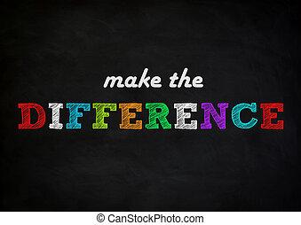 fazer, a, diferença, -, chalkboard, conceito