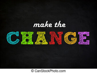 fazer, a, mudança, -, chalkboard, conceito