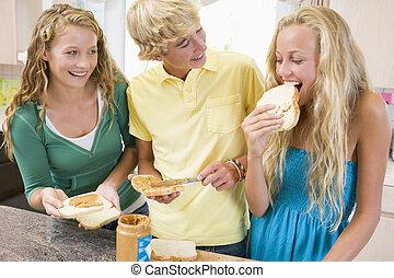 fazer, adolescentes, sanduíches