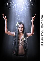 fazer, asiático, feiticeira, mulher, bonito, magia