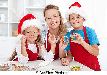 fazer, biscoitos natal, com, a, crianças