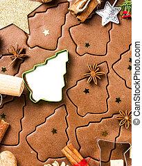 fazer, bolinhos gingerbread, para, natal., gingerbread, massa, com