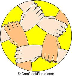 fazer, círculo, mãos humanas