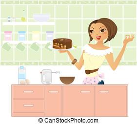 fazer, cake., mulher, cozinha