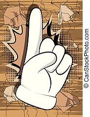 fazer, caricatura, point., mão