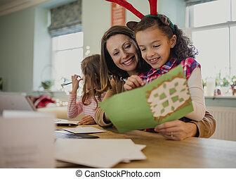 fazer, cartões natal, com, mum