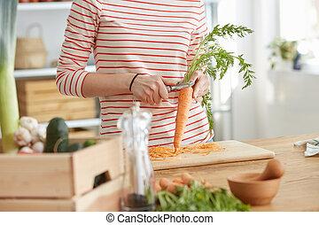 fazer, cenoura, sopa
