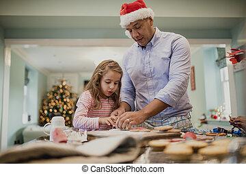 fazer, chritmas, biscoitos, com, pai