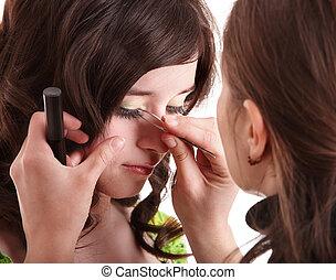 fazer, cima., falso, eyelashes.