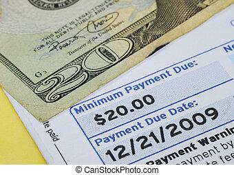 fazer, conta, isolado, amarela, crédito, mínimo, pagamento, cartão