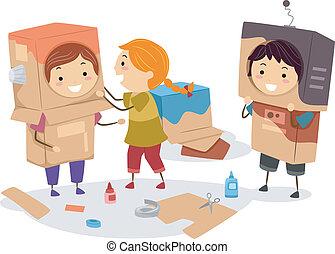 fazer, crianças, caixas papelão, robô