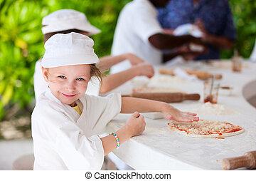 fazer, crianças,  pizza