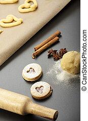 fazer, de, spritz, biscoitos, com, um, alfinete rolante