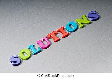fazer decisão, conceito, com, palavra, solução