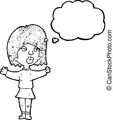 fazer, decisão, mulher, caricatura