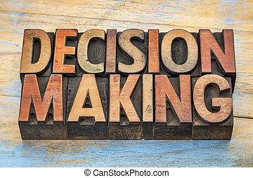 fazer decisão, palavras, em, madeira, tipo