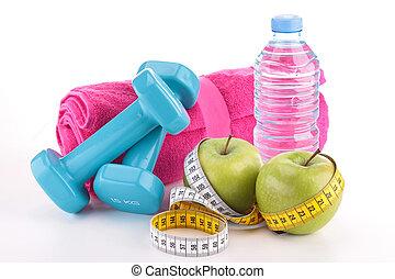 fazer dieta, alimento, e, equipamento aptidão