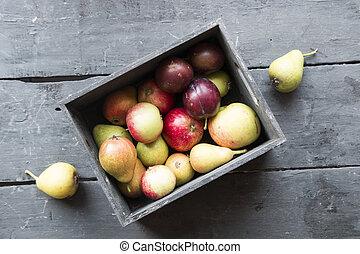 fazer dieta, saudável, idéia, comer, fresco, fruits.