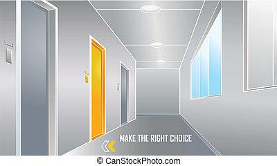 fazer, direita, escolha