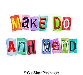 fazer, faça, e, mend.