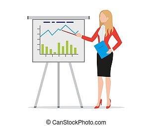 fazer, femininas, treinador, apartamento, vetorial, apresentação, inverter, illustration., estilo, estratégia, segurando, mapa, apontar, negócio, treinador, diagramas, pasta, executiva, explicando, gráficos