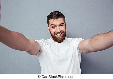 fazer, homem sorridente, selfie, foto