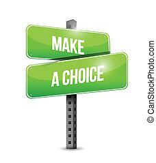 fazer, ilustração, escolha, rua, desenho, sinal