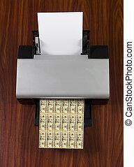 fazer, impressora, dinheiro