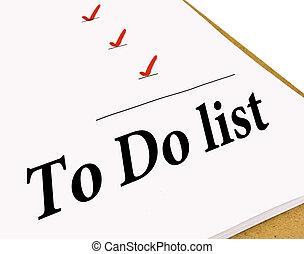 fazer, lista conferição