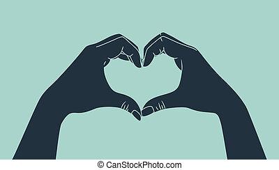fazer, mão, amor, sinal