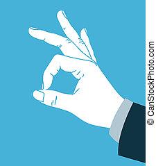 fazer, mão, concorde, sinal