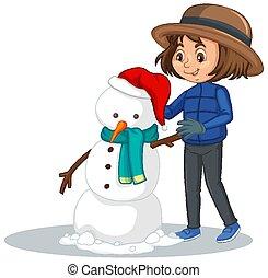 fazer, menina, boneco neve, fundo, isolado