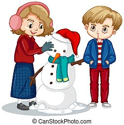 fazer, menino, branca, boneco neve, fundo, menina