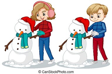 fazer, menino, neve, boneco neve, campo, menina