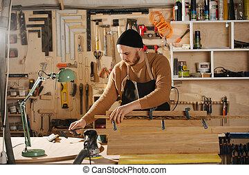 fazer, mobília, carpinteiro, workshop., ordem
