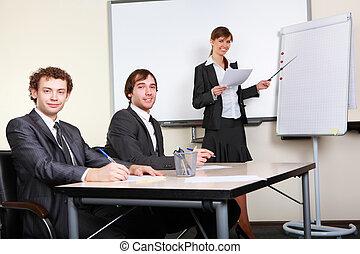 fazer, mulher, apresentação, jovem, negócio