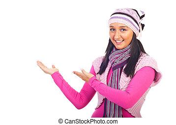 fazer, mulher, apresentação, lã, roupas