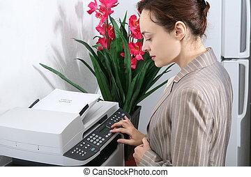 fazer, mulher, cópias, negócio